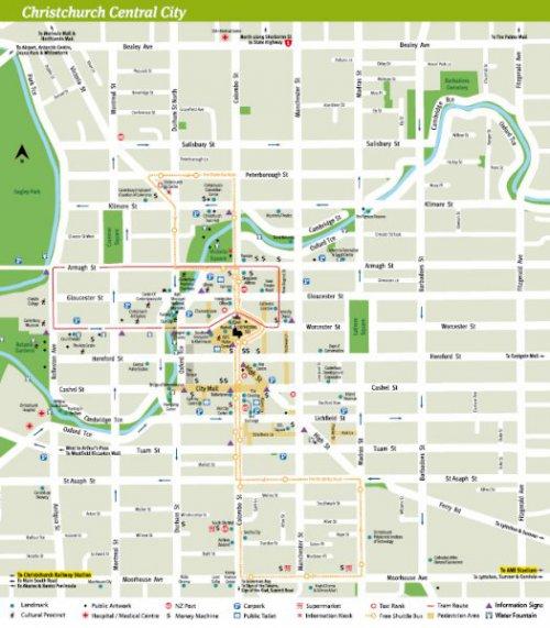 Карта Крайстчерча