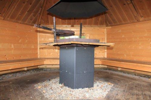 Внутри домика для барбекю